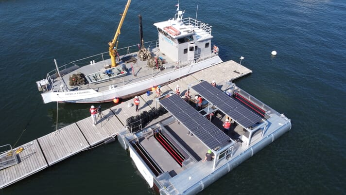 Solar-powered oyster farm sets sail thumbnail image
