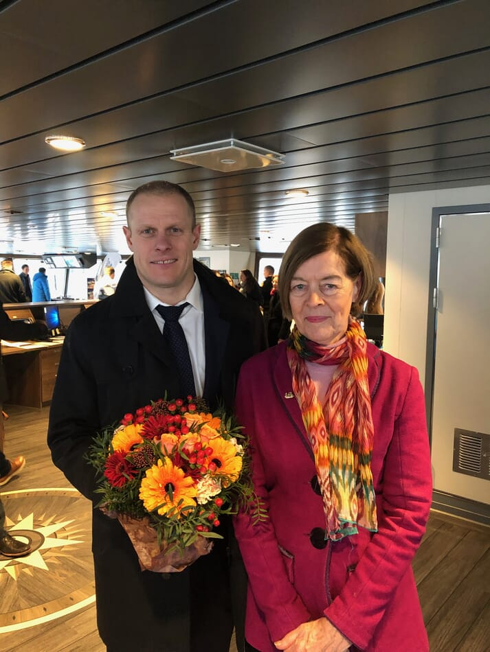 Matts Johansen and the Honorable Alexandra Shackleton at the vessel naming ceremony