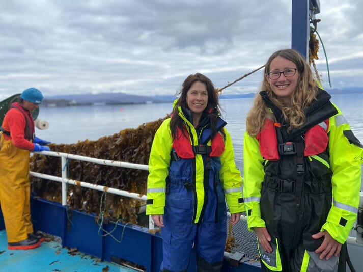 Yvonne Booth and Laura Tulip from Mowi Scotland at the new IMTA site's first kelp harvest