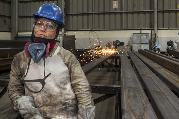 Jeanette Salazar, pioneer for the group of female welders at AKVA Group in Puerto Montt