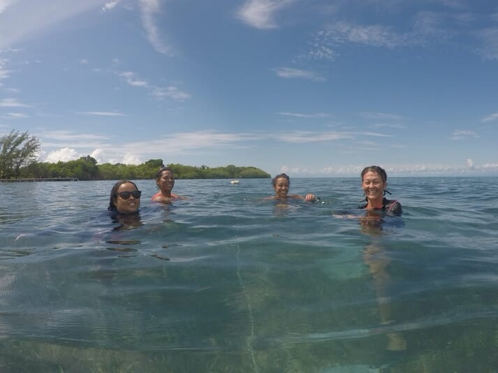 BWSFA members visiting seaweed farms at Little Water Caye, Placencia.