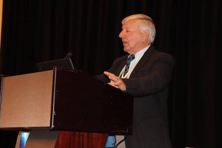 Dr Peter Cook delivering the plenary talk at Aquaculture 2019