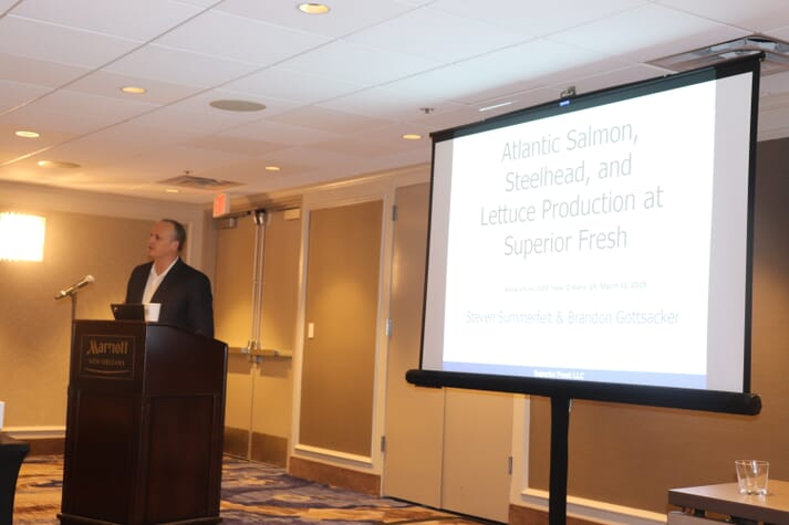 Dr Steve Summerfelt, chief science officer at Superior Fresh, delivers a presentation at Aquaculture 2019