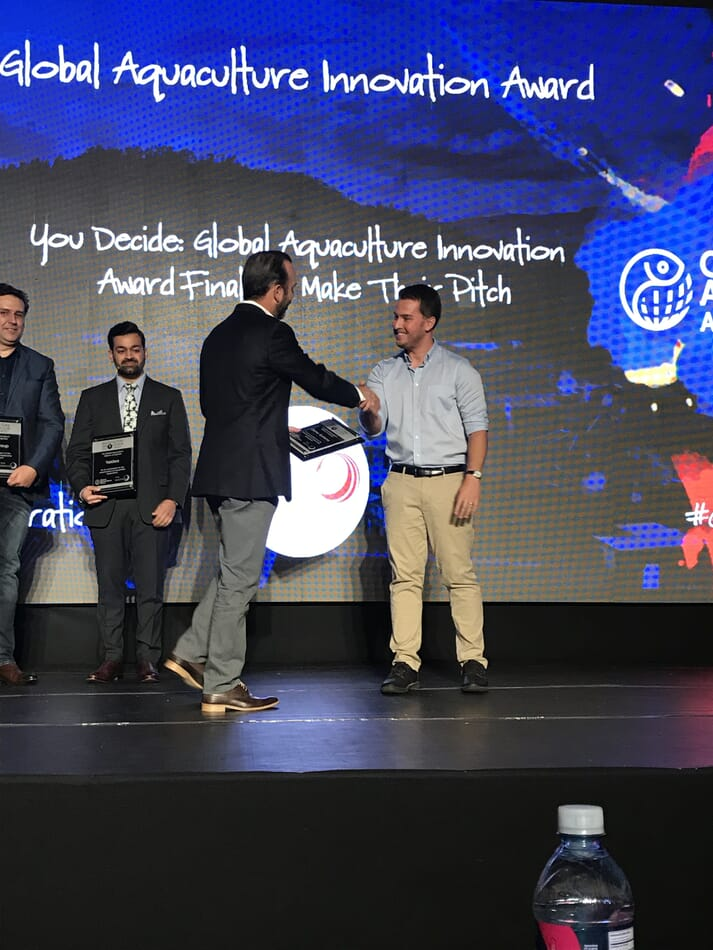 Zach Stein, CEO and co-founder of Osmo Systems, collects the 2018 GOAL Innovation Award