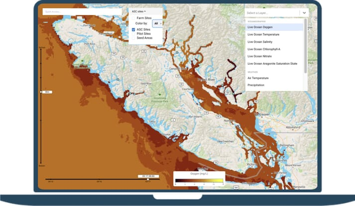 SeaState provides aquaculture operators with information on a range of water quality measurements, such as dissolved oxygen levels (click on image to enlarge)