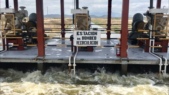 Pumps run the effluent water through a sedimentation pond