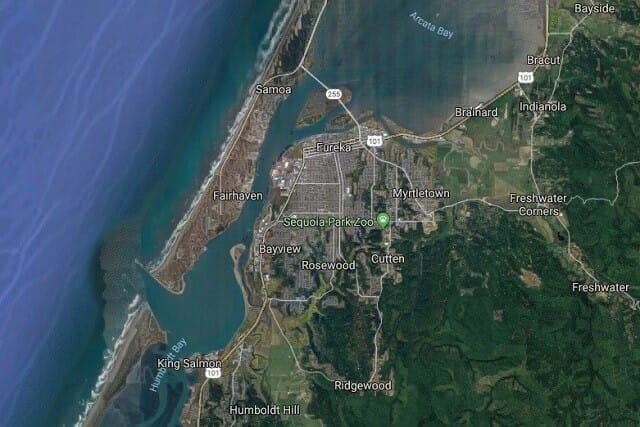 The  location of the proposed salmon or steelhead farm