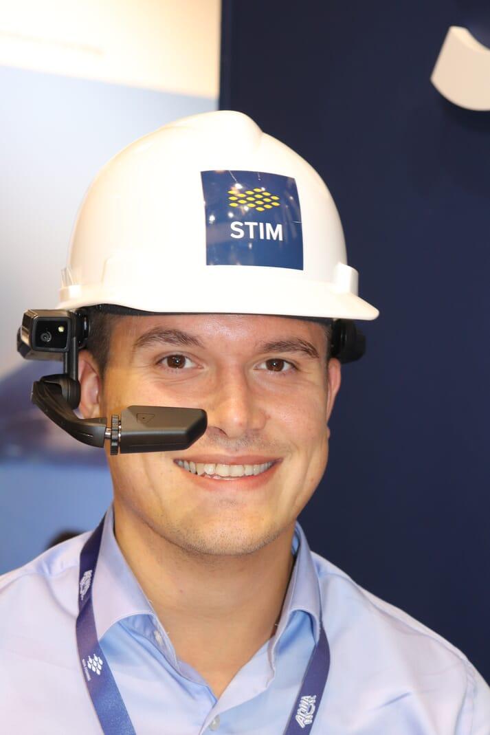 Thomas Vian Pettersen, business development manger for Stim, with the telemetric helmet