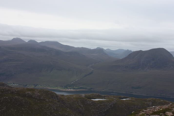 The two Ardessie sites (just visible centre) in Little Loch Broom
