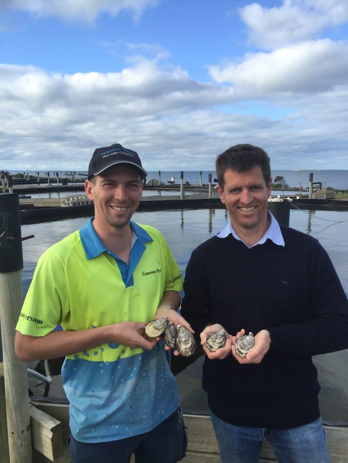 Ben Cameron, GM of Cameron of Tasmania, and Tom Hyde, GM of Yumbah PL