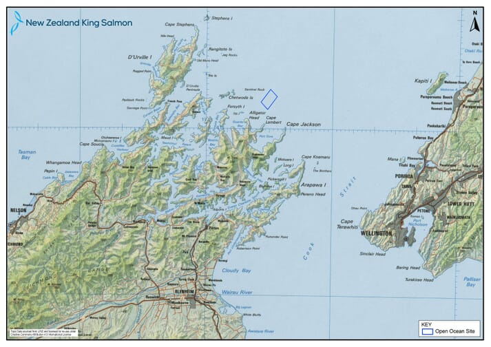 The proposed location of New Zealand King Salmon's new sites