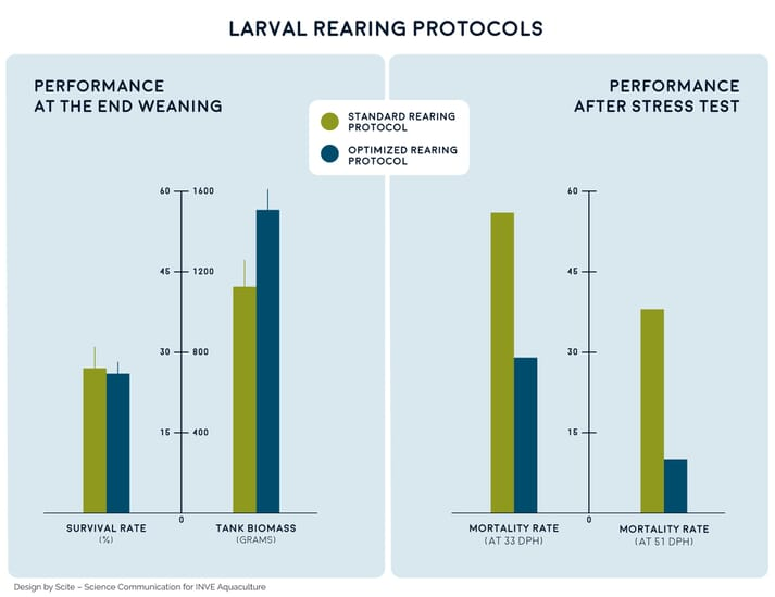 Figure 1. Bar charts showing survival (%) and biomass (g) at the end of weaning (left) and survival performance after the stress test (right) in sea bream larvae raised using FRY 2.0 protocols and ingredients versus larvae raised with standard commercial products. The stress test was performed at 59 ppt for 33-day post-hatching (dph) larvae and at 69 ppt for 51-dph larvae
