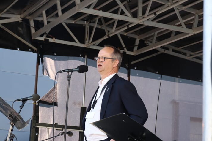 Malcolm Pye at the opening of Benchmark's Salten salmon hatchery in May 2019