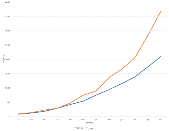 A graph showing the improvements in growth rates from 2013 (blue) to 2015 (red)