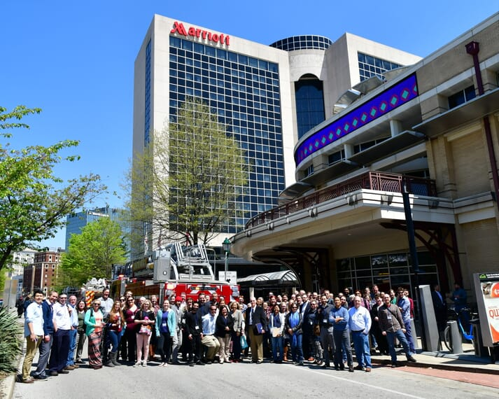 Delegates from the 43rd EFHW in Chattanooga, Tennessee taking advantage of the hotel evacuation after a fire alarm