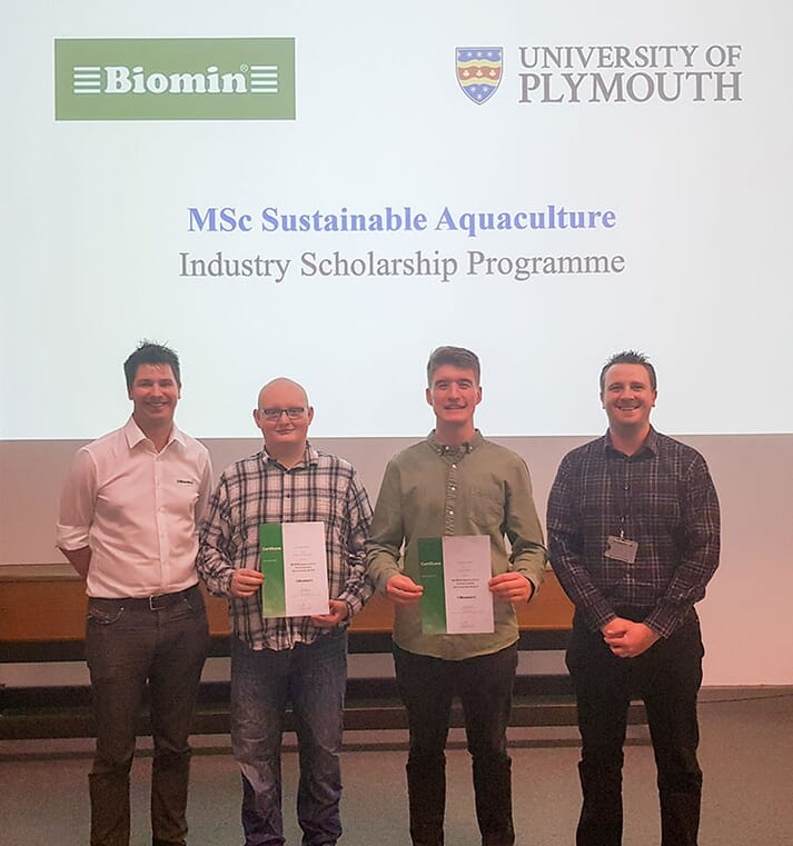 Some of the inaugural recipients of the sustainable aquaculture scholarships with Biomin's Dr Benedict Standen (left) and Plymouth's Dr Daniel Merryfield (right)