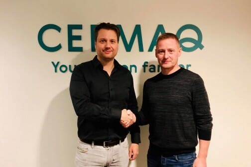 Harald Takle, manager of Cermaq's R&D farming technology department (left) and Eyðbjørn Hansen, managing director of Sea Farm Innovations (right)