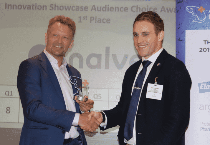 Inalve CEO, Christophe Vasseur, is presented with the Innovation Award by Lawrence Brown, animal sciences and aquaculture sector specialist at the UK's Department for International Trade and innovation