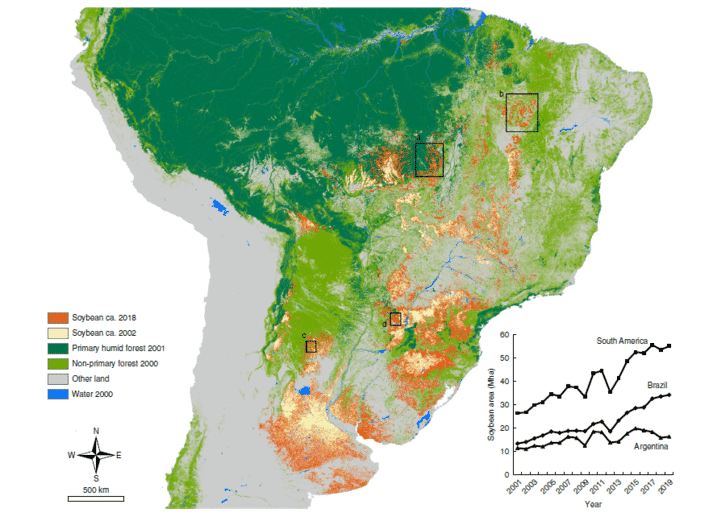 Fig. 1 | Soybean expansion across South America in the twenty-first century. Annual soybean classification maps were generated at 30 m spatial resolution from 2001 to 2019. (click on image to enlarge)