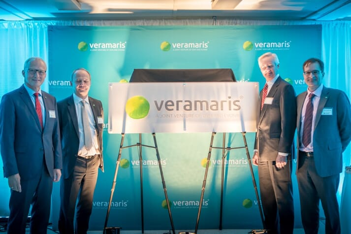 Veramaris celebrated half-time for its algal oil plant in Blair, Nebraska, as construction is on schedule: Reiner Beste (Evonik), Christoph Goppelsroeder (DSM), Lieutenant Governor of Nebraska Mike Foley, and Karim Kurmaly (Veramaris)