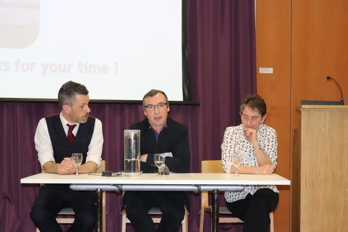 Dr Newton (centre) took part in an insect farming seminar, organised by Dr William Clarke (left) of Zero Waste Scotland, in Edinburgh in February