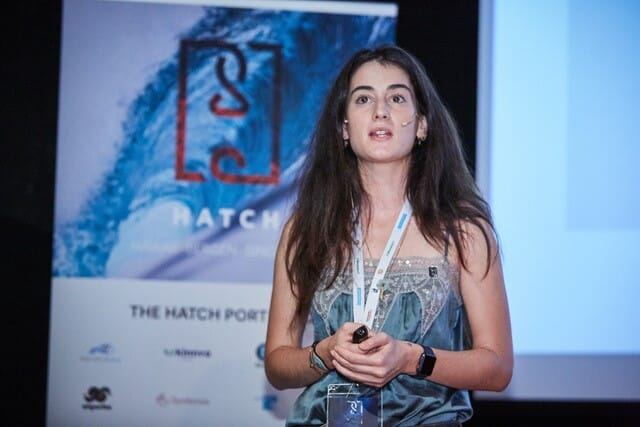Alexia Akbay, founder and CEO of Symbrosia, speaking at an event organised by Hatch at Aquaculture Europe 2019, in Berlin