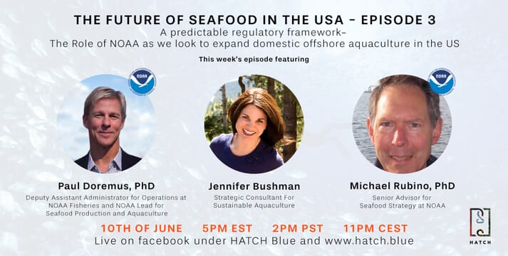 NOAA's Paul Doremus and Michael Rubino will be discussing the opportunities for offshore aquaculture in the US with Jennifer Bushman on 10 June.