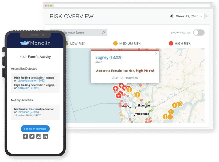 Manolin's aquaculture risk forecasting platform sends daily alerts when there are changes on the farm