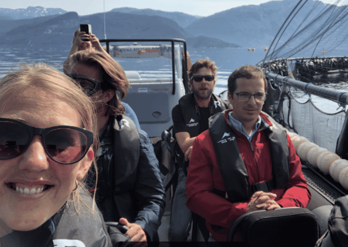 Visiting a salmon farm in Norway with members of the Hatch team