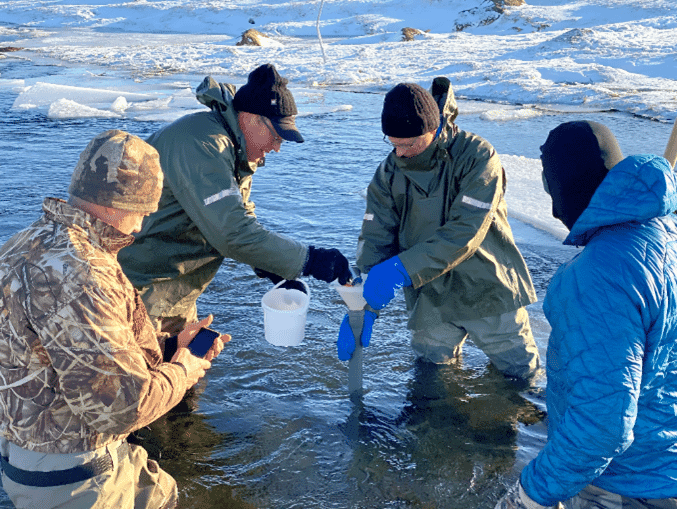 Planting salmon eggs on the Selma River in North East Iceland - part of an ambitious restocking scheme which is being sponsored by Ineos CEO, Sir Jim Ratcliffe