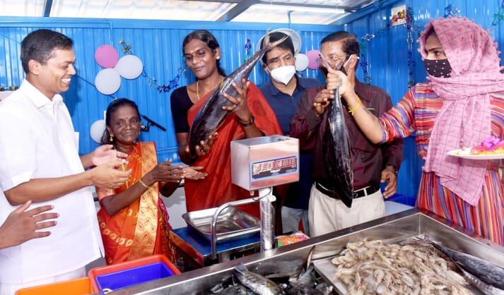 Adhidhi Achyuth at the official launch of her fish vending stall in Kochi