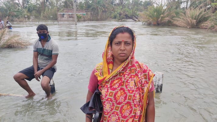 Jaba Mondal lost her house and her shrimp stocks due to Cyclone Amphan