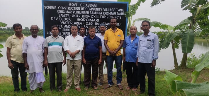 Jaydeb Kalita (in blue t-shirt) with fellow community farmers in Assam