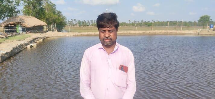 Montu Kumar Giri, a shrimp farmer in Suniya village in the East Medinipur district of West Bengal