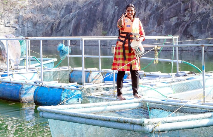 Raji George established an eight-cage fish farm in an old quarry