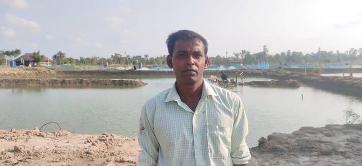 Swapan Kumar Giri, a farmer in Suniya village, lost 35 tonnes of vannamei shrimp in the cyclone