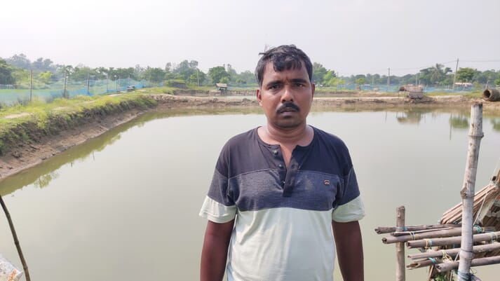 Rabindranath Bhuia was compelled to take up shrimp farming after neighbouring shrimp producers inadvertently ruined his paddy fields