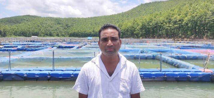 Navkishore Gope a fish farmer on Chandil Dam