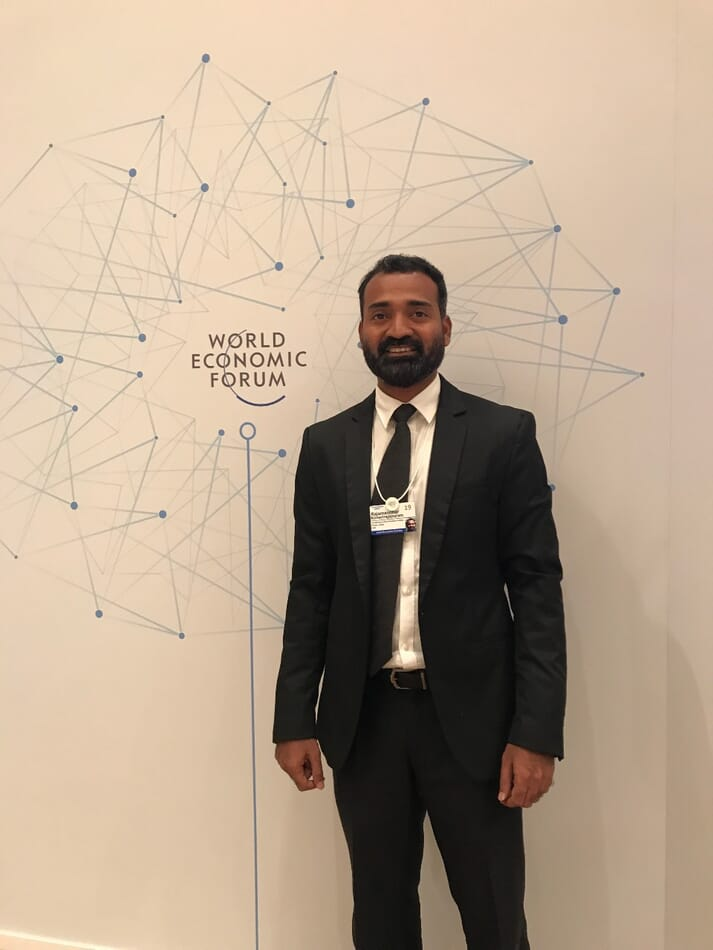 Rajamanohar Somasundaram, founder and CEO of Aquaconnect, at the World Economic Forum