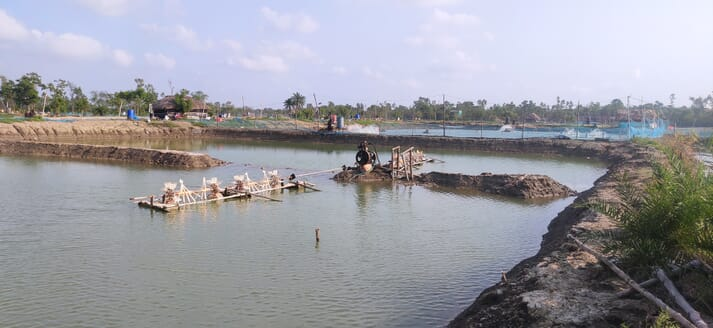 Shrimp ponds and farm machinery were heavily damaged by Cyclone Yaas