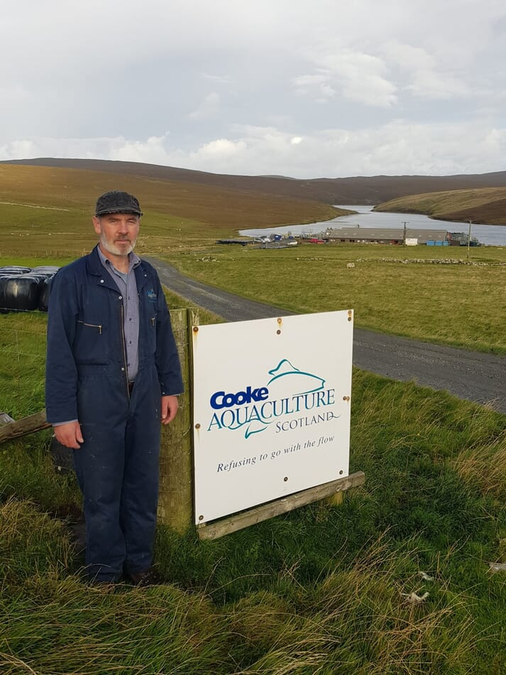 John McCulloch, assistant manager at Cooke's salmon hatchery at Quoys, on Unst