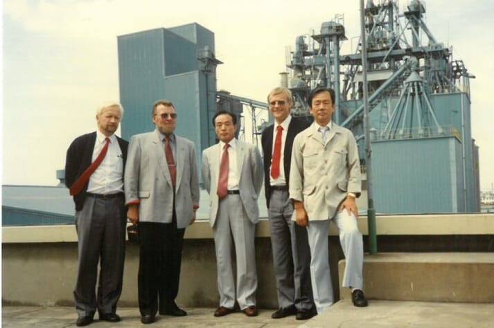 Niels Alsted visiting the Dae-Han feed factory in South Korea, 1989