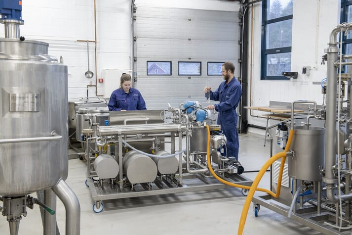 Aquafeed Technology Centre researchers Tone Aspevik and Lars Thoresen using the new membrane filtering unit to asses novel feed ingredients