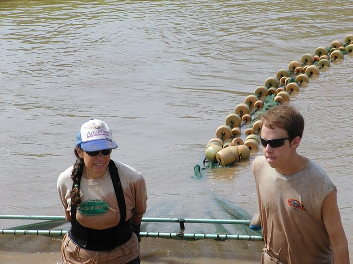 The author harvesting a pond