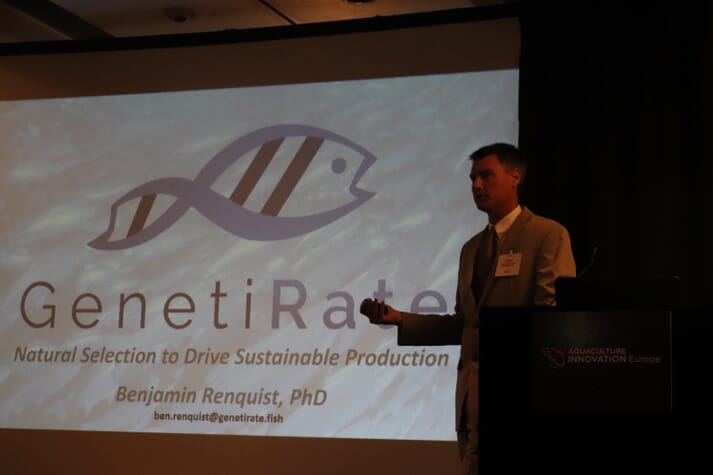 Dr Renquist gave one of 13 pitches to possible investors at Aquaculture Innovation Europe 2019