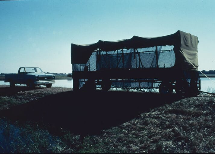 A cotton trailer was converted to make a hatchery for channel catfish