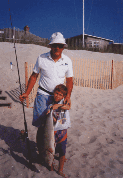 The author, pictured with his grandfather, grew up fishing on the New Jersey Shore