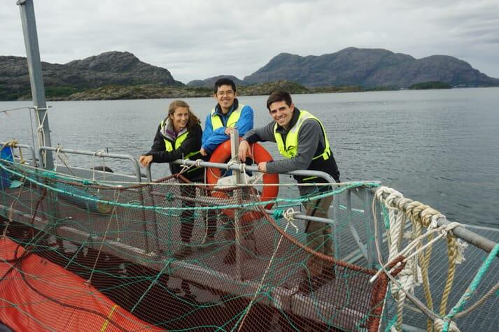 The Manolin team at a fish farm near Bergen