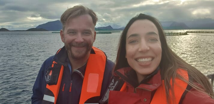 Kvarøy Arctic CEO Alf-Gøran Knutsen with 2020 Women in Aquaculture Scholarship recipient Marwa Mechlaoui