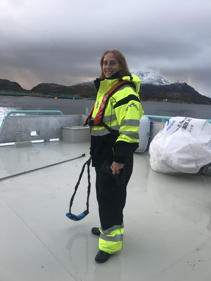 Liane Thompson, CEO of Aquaai, on site in Norway
